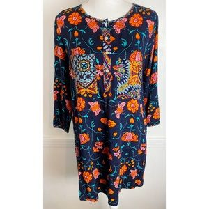 Fig and Flower • Navy Orange Floral Tunic Blouse